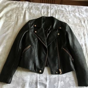 Faux, black, leather jacket with gold hardware